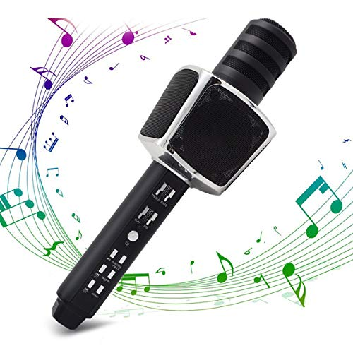 Karaoke Mikrofon, SYOSIN 3-in-1 Bluetooth Mikrofon Kabellos mit Zwei Eingebauten Lautsprechern für Party, Podcast, Familie, Kompatibel mit PC, Laptop, iPhone, iPod, iPad, Android ()