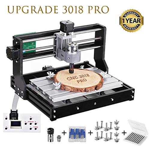 Vogvigo Upgrade Version CNC 3018 Pro Wood Router Kit GRBL Control DIY Mini  CNC Machine, 3 Axis Plastic Acrylic PCB PVC Milling Machine with Offline