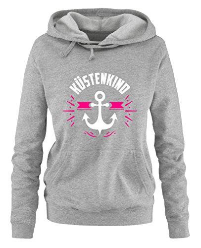 Comedy Shirts - Küstenkind Anker - Damen Hoodie - Grau/Weiss-Pink Gr. M