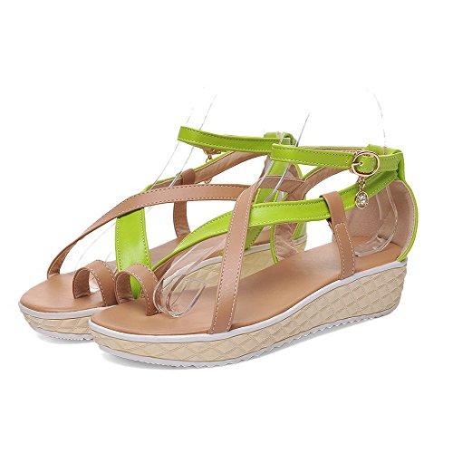 Heeled Tacco VogueZone009 Luccichio Donna Basso Assortito Colore Verde Sandals Fibbia wT0qXw