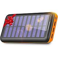 KEDRON Batterie Externe, 24000 mAh Chargeur Solaire Power Bank avec Deux Entrées et 3 Ports Haute Vitesse de Charge Portable pour Smartphones …