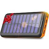 KEDRON 24000mAh Cargador Móvil Portátil Batería Externa con 3 Puertos de Salida y Entrada Doble Solar Power Bank para Android/iOS Phones, Tablet y Otros Smartphones(Naranja)