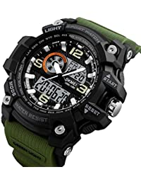 Skmei Analogue-Digital Black Dial Military Green Strap Men's & Boy's Watch - Skm-1283-Green