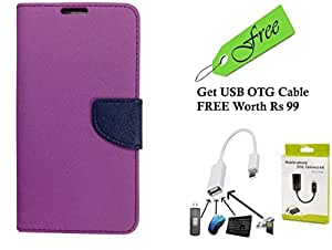 Novo Style Fancy Diary Wallet Flip Cover Case For Redmi Note 2 Purple With FREE Premium Quality Micro USB OTG - White
