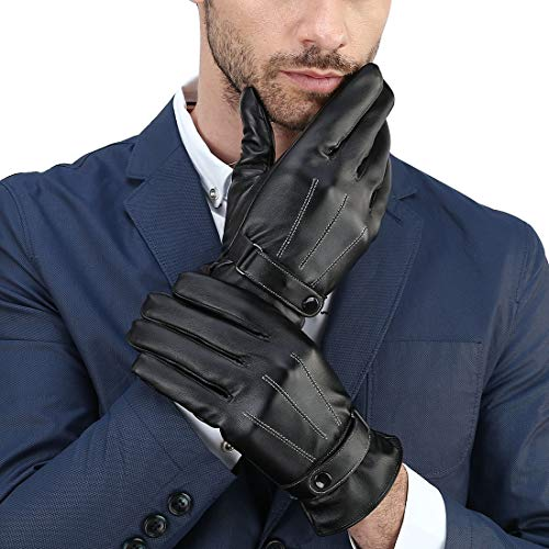 Cassiecy Herren Handschuhe Winter Touchscreen Lederhandschuhe Warme Gefüttert Motorradhandschuhe (Schwarz,M)