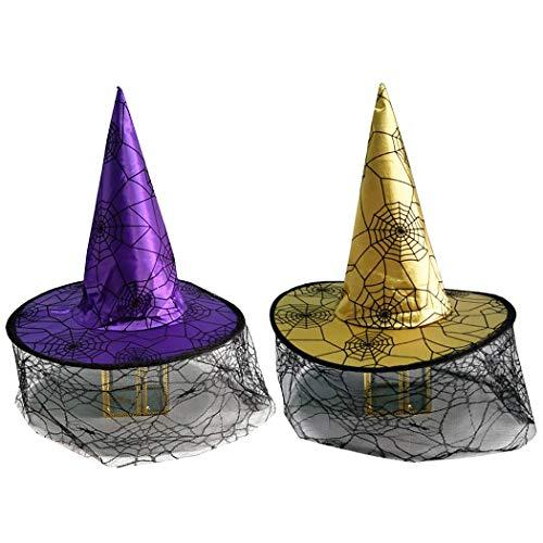 lloween Hexenhut Kreative Schleier Kostüm Hut Party Hut für Cosplay ()