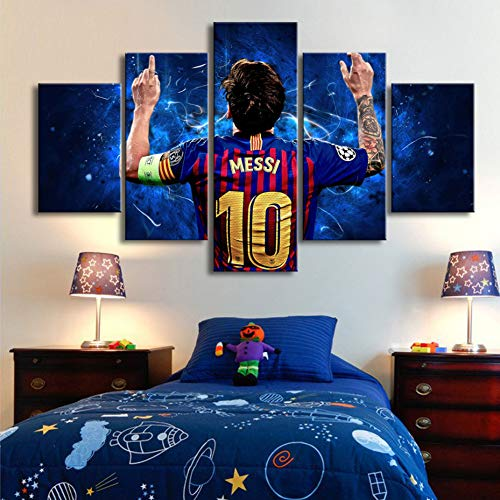 TJJQT 5 Cuadro Lienzo Barcelona 10 Messi Carteles