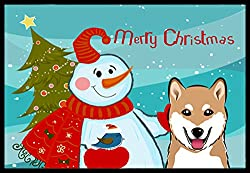 Carolines Treasures Snowman with Shiba Inu Indoor or Outdoor Mat, 18 by 27, Multicolor