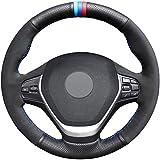 HCDSWSN Couverture de Volant de Voiture en Daim Noir véritable Cuir pour BMW F20 F45 F30 F31 F34 F32 F33 F36 316i 320i 328i 320d 118i