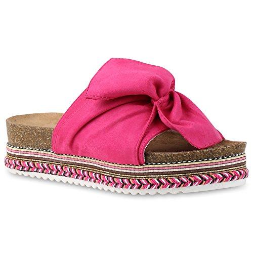 Bequeme Damen Sandalen | Zehentrenner Glitzer Metallic | Komfort-Sandalen Kork | Bequemschuhe | Strandschuhe Schnallen Pink Velours Schleife