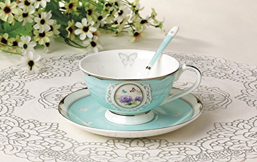 Teetasse aus hochwertigem Porzellan inkl. Untertasse und Löffel – Türkis – Vintage – Landhausstil – Barock - 5