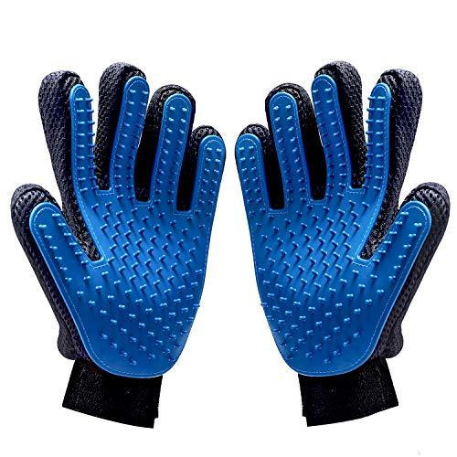 MILcea Pet Bürste Handschuhe Fellpflegehandschuh Haustier Pflegen Massage mit verbesserten Fünf Finger Design Weich Haustierhair entfernen Haustier Deshedding Werkzeug 2PCS -
