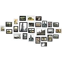 (Upgraded Vision)Sungle Conjunto de marcos de fotos de madera para 26 fotos montado en la pared (negro+blanco)