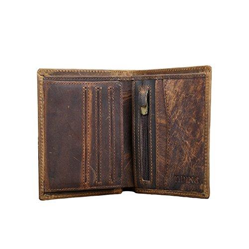 ZENTEII Männer Echtleder Brieftasche Ausweis Kreditkartenetui Braun