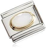 Nomination donne pietre preziose componibili CLASSIC Gems, acciaio inossidabile e oro 18 K acciaio inossidabile parzialmente placcato oro bianco - giada 03050225