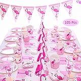 Amycute 105-Teiliges Party-Geschirr Set Flamingo,Party Set für Geburtstag Kindergeburtstag Mottoparty, Tischdeko Partygeschirr Set für 6 Personen.