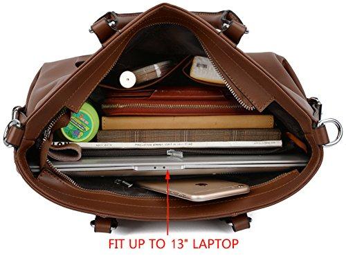 Yaluxe Donna pelle Laptop Lavoro Borse a spalla Shopping Borse a tracolla Marrone