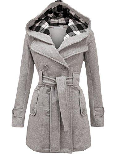 NOROZE Damen stylischer Herbst Winter Fleece Mantel, Jacke mit Kapuze (38 (UK 10), Grau)