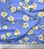 Soimoi Blau Seide Stoff Blätter & Magnolie Blumen- Dekor
