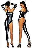 MZQ Sexy Damen Wet Look Leder Latex Catsuit Bodysuits Clubwear,Black