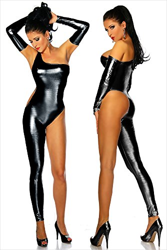 MZQ Sexy Damen Wet Look Leder Latex Catsuit Bodysuits Clubwear,Black