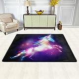 ISAOA Fußmatte, 91,4 x 61 cm, Star Magic Einhorn, Regenbogen-Teppich, strapazierfähig, Teppich für Badezimmer, Schlafzimmer, Küche, Flur, Haustier