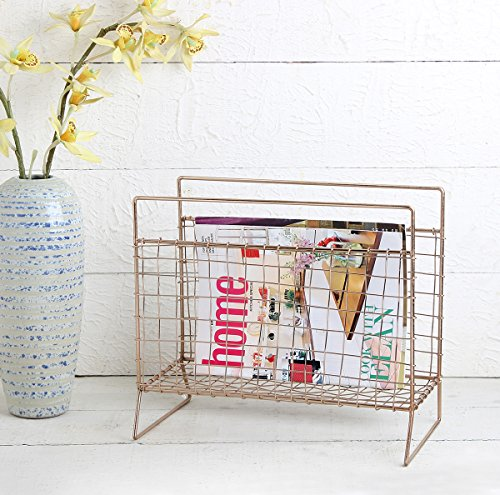 Store Indya Metal Magazine Rack Stand Vintage Style Catalogue Book Holder Display...