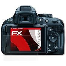 3 x atFoliX Anti-Choque Lámina Protectora de Pantalla Nikon D5200 Antichoque Película Protectora - FX-Shock-Antireflex