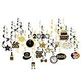 Amosfun 2020 Silvester Spirale Dekoration Neujahr Party hängen Anhänger Banner für 2020 Jahr Party Ornament 30pcs