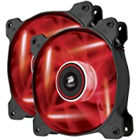 Corsair AF120 LED Quiet Edition Ventola da 120 mm, Flusso d'Aria Elevato, Illuminazione a LED Rosso, Confezione Doppia