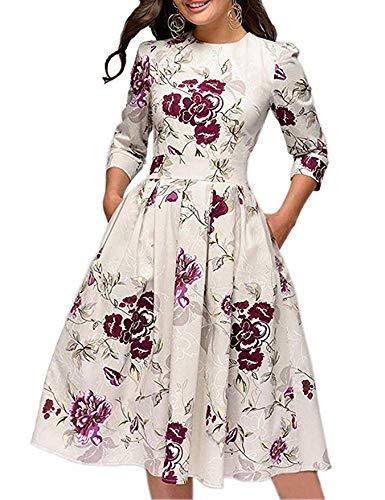 JOJJJOJ Abito da Donna Vintage Anni '50 con Abiti da Cocktail, Abiti Vintage retrò, Elegante Abito da Sera a Mezza Manica 3/4 (Colore : Beige, Size : XL)