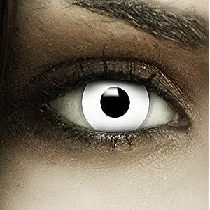 Farbige weiße Kontaktlinsen Zombie + Kunstblut Kapseln + Behälter von FXCONTACTS®, weich, ohne Stärke als 2er Pack – perfekt zu Halloween, Karneval, Fasching oder Fasnacht