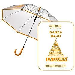 Paraguas automático y transparente con frase divertida.