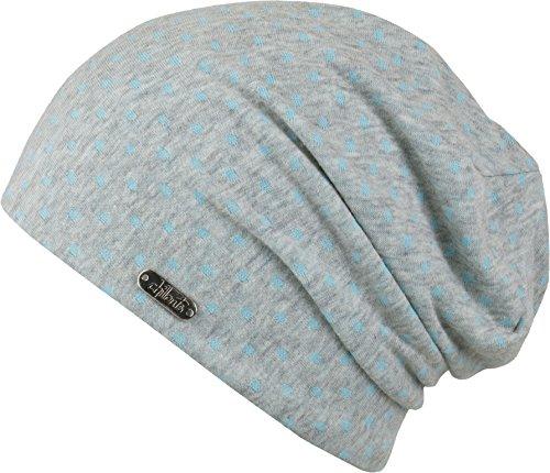 Florence - leichte Beanie Mütze für Damen und Herren - Slouch (grau-blau)