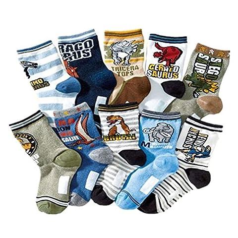 Kids Boy's Fashion Cartoon Dinosaurs Pattern Sport Socks 10 Pairs (4-7 Years, Dinosaurs 1)