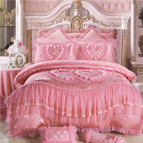 RONGXIE Silk Cotton Jacquard Soul Mates Luxury Wedding Bedding Set Lace Duvet Cover Bedspread Pillowcases Queen King Size 3/4/6/9pcs -