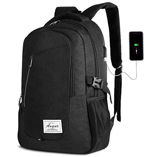 AUGUR Rucksack Laptop Herren mit USB ladeanschluss und 15.6 laptopfach für Business Arbeit Schule Universität 35L