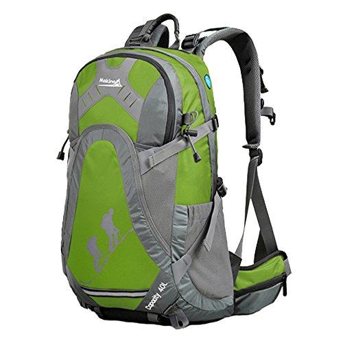 MAKINO Outdoor Sports Camping Wandern Wasserdicht Rucksack Daypacks Bergsteigen Tasche 40L 45L Travel Trekking Rucksack mit Regen Cover Grün