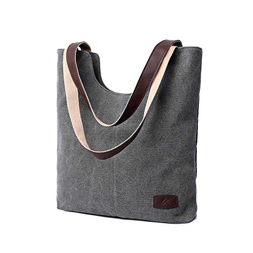 BYD - Donna School Bag Borse Tote Bag Travel Bag U Style Canvas Bag Borse a mano Borse a spalla Shopping Bag Grigio