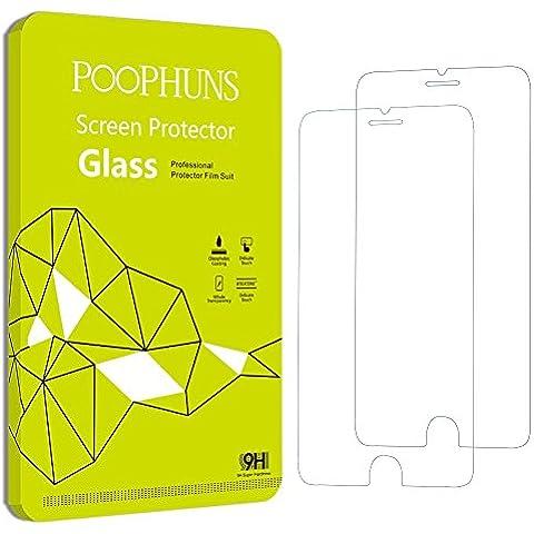 POOPHUNS iPhone 6 Plus 6s Plus Protector de Pantalla, 2-Pack, Vidrio Cristal Templado Premium para iPhone 6 Plus 6s Plus, 3D Touch Compatibles, Ultra Resistente a Golpes y Rayado, Alta Transparencia, Sin burbujas