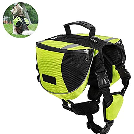PETSUPPLY Hunderucksack Reisen Camping Wandern Hundebackpack für mittelgroße & Large Hunde(Grün, reflektierend)
