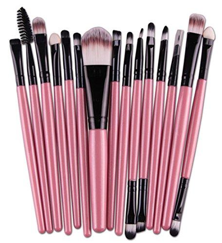 Bigood Kit d'Outils Maquillage 15Pcs Brosse Pinceaux Professionnel Set Poudre Eyeliner Visage