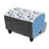 vidaXL Patchwork Fußhocker Country Living Stil Blumen Punkte Blau &