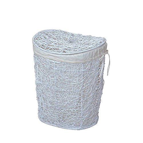 Pharao24 Wäschekorb in Weiß Geflecht