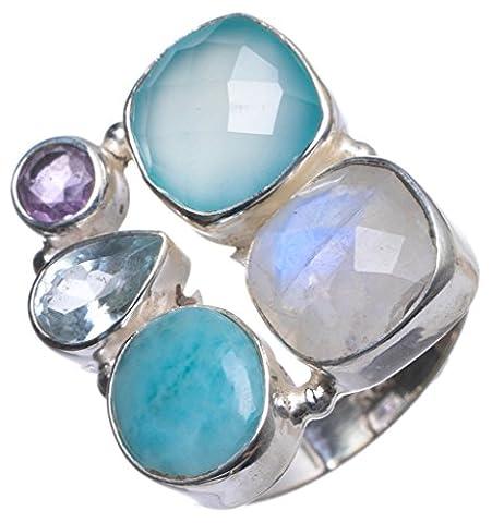 Stargems (TM) Naturel Calcédoine, pierre de lune, topaze bleue et améthyste faite à la main Unique Bague en argent sterling 925, taille O 1/2