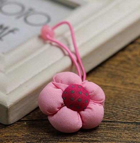 nalmatoionme Cute Elastic Pferdeschwanz Halter Blume Haar Seil Haar Band Zubehör (zufällige Farbe) - Pferdeschwanz-haar-band-halter Zubehör