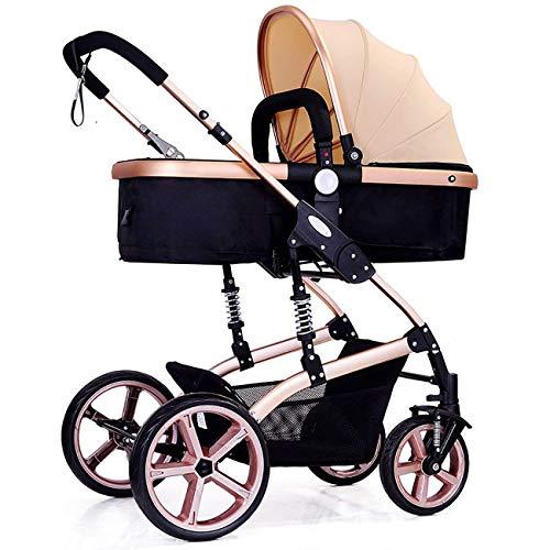 PLDDY kombikinderwagen Vier Jahreszeiten-Prams falten hohe Landschaftskleinkind-Baby-Kinderwagen bidirektionale neugeborene Spaziergänger passend für Kinder 0-3 Jahre alt