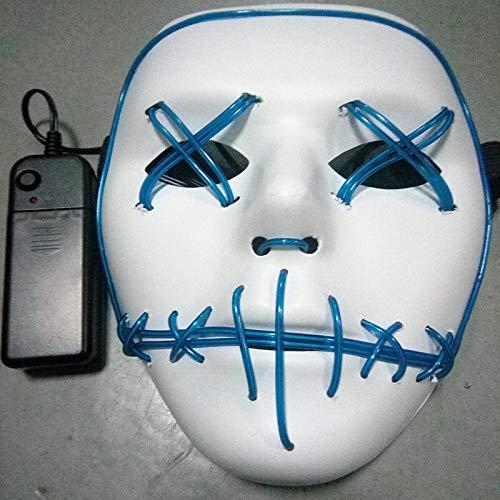 LIXB Glühende Maske Street Dance Horror Glow Maske Mund naht Auge glühen Make-up Party glühen Gesicht - Make-up Gesicht Zu Glühen