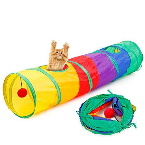 Regenbogen Kostüm Kätzchen - Legendog Katze Spielzeug Kreativ Faltbar Regenbogen Katze Tunnel Kätzchen Abspielen Spielzeug Haustier Ausbildung Spielzeug mit Hängend Ball