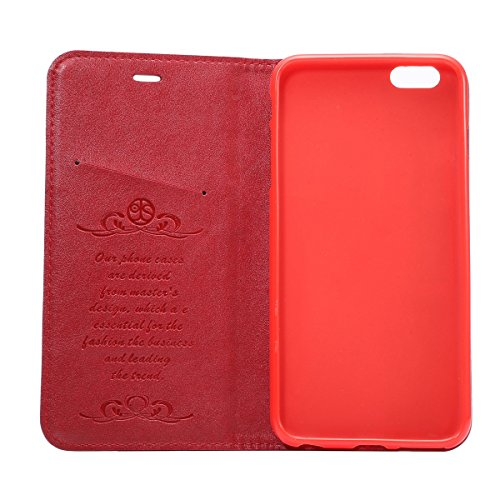 iPhone 6 Plus / iPhone 6s Plus Handycover, LifeePro für iPhone 6 Plus / iPhone 6s Plus Crazy Horse Pattern PU Leder Handycover mit Flip Stand Funktion Fotorahmen und Kartensteckplätze TPU Silikon Weic Rot